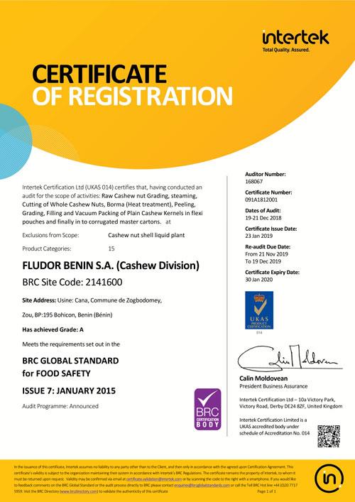 certificat BRC