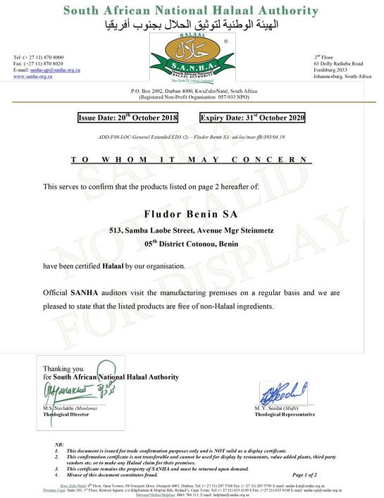 certificat Halaal