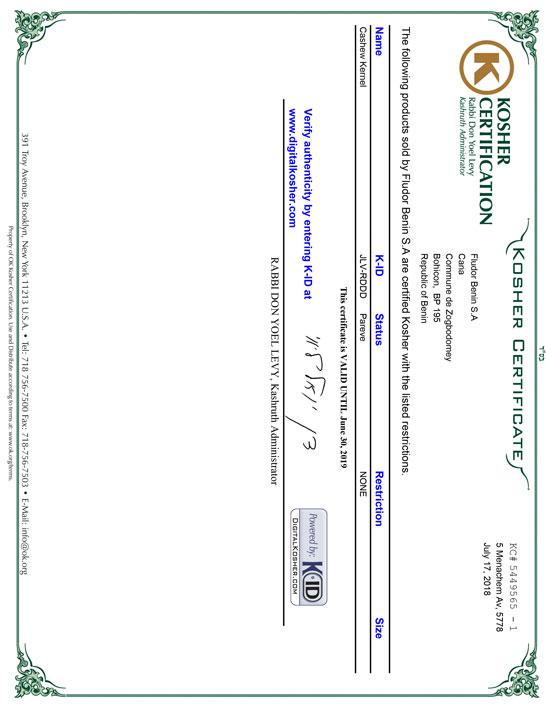 certificat KOSHER